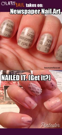 The Pintester Takes on Newspaper Nail Art | CraftFail