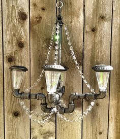 Solar Powered Oil Rubbed Bronze Pipe Chandelier with Glass Crystals