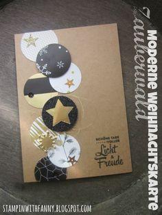 stampin up stampinwithfanny weihnachtskarte christmas card zauberwald glitzerpapier gold schwarz kraft freude zur weihnachtszeit lots of joy sternkollektion schneeflocke winter wo #stampinwithfanny