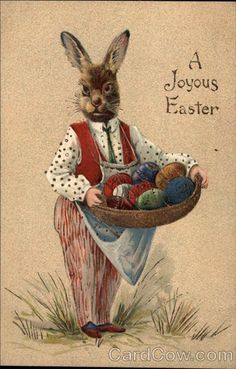 Father Rabbit with basket of eggs.