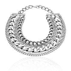 antique silver 4 row chain nec...