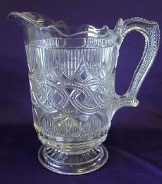 "1870 EAPG PORTLAND GLASS CO CHAIN & SHIELD WATER PITCHER, 8 7/8""H x 8 1/4"" from spout to back of handle."