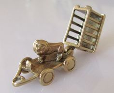 Large CHIM 9ct Gold Lion in a Cage Charm Opens by TrueVintageCharms on Etsy