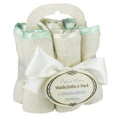 Set of organic washcloths with satin trim