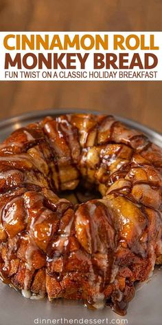 Cinnamon Roll Monkey Bread is fun and easy twist on the perfect holiday breakfast made with refrigerated cinnamon rolls, brown sugar, butter and cinnamon. #cinnamon #cinnamonroll #cinnamonrollmonkeybread #monkeybread #christmasrecipe #holidays #dinnerthendessert