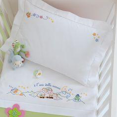 Lenzuolino lettino, cotone disegnato da ricamare a punti misti