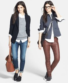 Two Outfits-- neutrals (navy + grey + brown + black + white)