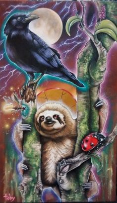 toby stanger. Sloth and the Crow | 0 | Sold 16 x 24 Acrylic on wood | Commission, for my Good friends Camille and Alex! One of my favorite paintings ever. Oct. 2015