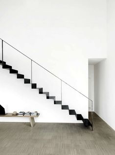simplicity, thin black metal staircase against white walls, narrow black railing + stairs, graphic outline Black Railing, Black Stairs, Stair Railing, Railings, Stair Idea, Bannister, Interior Stairs, Home Interior Design, Interior Architecture