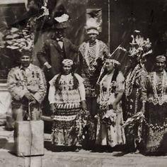 Siletz group prepared to participate in a Naadosh (aka Feather Dance) in Newport, Oregon - circa 1915