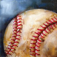 Artists Of Texas Contemporary Paintings and Art - Old Baseball by Kristine Kainer