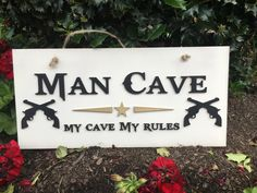 Man Cave, Sign, Decor, Guns Signs, My Cave, My Rules, 2nd Amendment, Don't Tread on Me by CashandBoone on Etsy Wood Wedding Signs, Wood Signs, Wood Guest Book, Man Cave Signs, Dont Tread On Me, Guest Book Alternatives, Handmade Items, Handmade Gifts, Sign I