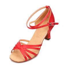 Women's Satin Ankle Stripe Latin Dance Shoes Sandals(More Colors) – USD $ 24.99