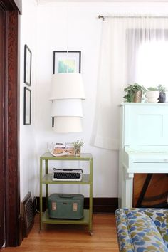 DIY Three-tiered lampshade--cute to hang in our bedroom from the hook in the ceiling