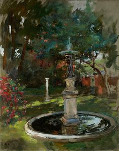 The Fountain | From a unique collection of landscape paintings at http://www.1stdibs.com/art/paintings/landscape-paintings/