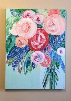 30x40 Orginal Acrylic Floral Painting by JessicaKist on Etsy