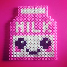 Kawaii pink milk hama perler beads by laura_littlefreak