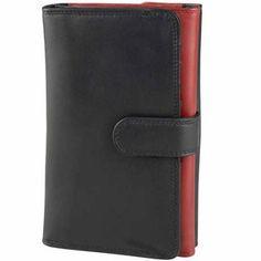 Derek Alexander Ladies Trifold Wallet Black/Red - via eBags.com!
