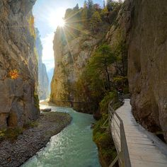 """ChrisBurkard on Instagram: """"The Aare Gorge. A glacial river that has carved canyons through limestone over 200m deep. As you walk through you can see the light patterns shift and play across the canyon walls."""