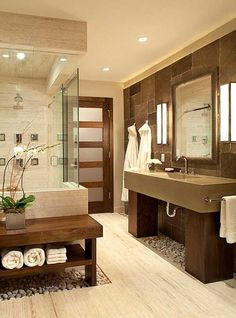 Warm neutral tones work together to create a clean color palette in this bathroom.