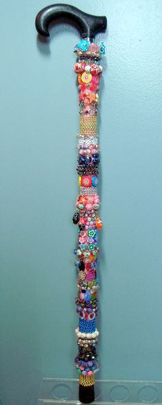 Decorative Beaded Cane and Walking Stick by CitizenCanes on Etsy