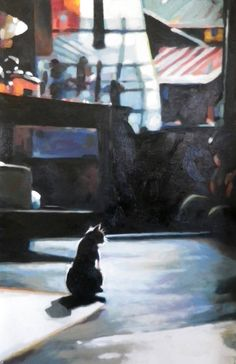 """Night Cat,"" original painting with cat by artist Thomas Saliot 