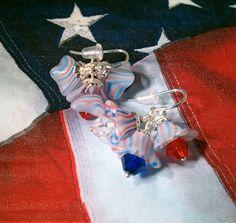 American Patriotic Flower Earrings; red white blue earrings; american earrings; 4th of july earrings;trumpet flower earrings;summer earrings by FarringtonBead on Etsy