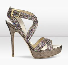 VAMP    These perfect summer strappy sandals in playful multi coloured glitter fabric create the ultimate evening look.