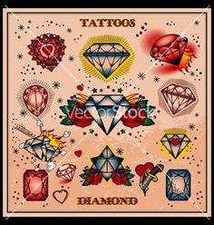 heart tattoo old school small Tatto Old, Juwel Tattoo, Ruby Tattoo, Flash Tattoo, Diamond Tattoos, Tattoo Drawings, Chest Tattoo Diamond, Diamond Finger Tattoo, Sternum Tattoo
