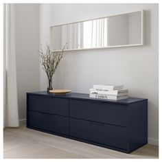 IKEA - NORDMELA, dresser, black-blue, You can also use this chest of drawers as a bench since the construction is both stable and sturdy. Smooth running drawers with pull-out stop. 4 Drawer Dresser, Chest Of Drawers, Blue Dresser, Ikea Black Dresser, Ikea Dresser Hack, Best Ikea, Ikea Storage, Drawer Fronts, Clean Design