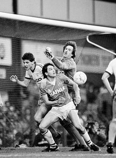 Everton 3 West Ham 0 in May 1985 at Goodison Park. Tony Gale, Graeme Sharp and Phil Parkes in action #Div1