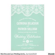 "Mint Brocade Lace Wedding Invitation 5"" X 7"" Invitation Card"