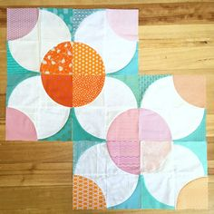 Fizzy flower quilt blocks for quilting bee in pink, orange and teal
