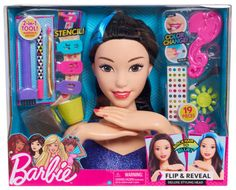 Barbie Flip and Reveal Deluxe Styling Head - Brunette to Purple Baby Dolls For Kids, Little Girl Toys, Baby Girl Toys, Toys For Girls, Gifts For Boys, Barbie Hair, Barbie Toys, Barbie Styling Head, Princess Toys