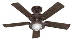 "Hunter 52"" Nautical New Bronze 3 Speed Wet Rated Ceiling Fan w/ Light CFM 5240 #Hunter #Nautical"