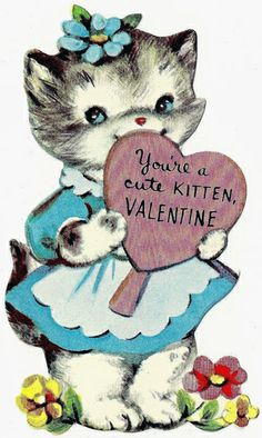 vintage Valentine cat