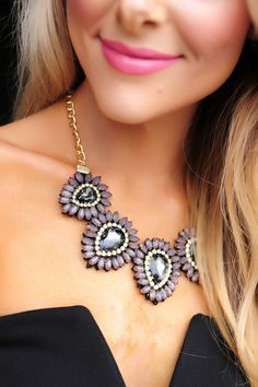 Charcoal/Black Stone Statement Necklace - Dottie Couture Boutique