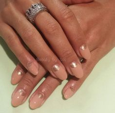 Nude and glitter, reverse french manicure