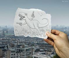 Ben Heine - Pencil Vs Camera  Dinosaur in the city