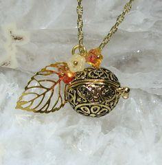 22939dcb8d3a36 Gold Locket Items similar to Gold Secret Keeper Locket Necklace, Birthstone  Bell Flower Color Choices