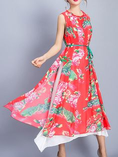Vintage Women Floral Printed Fake Two Pieces Sleeveless Chiffon Dresses