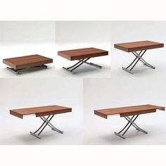 The Passo is a transforming coffee table with glass/wood top and metal frame.  Adjustable to various heights, including dining, with two self-storing leaves.