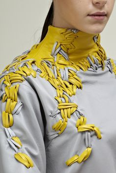 Ya-pei Tseng. LCF graduate collection 2013. Leather embroidery details/photography by GMGP/ Beauty by Pace Chen and Lisa Zipper/ Model by Lara@ profile