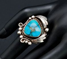 Native American Ring Blue Gem Turquoise by littlethingsvintage
