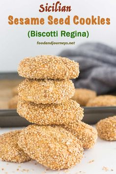 A classic Italian treat. Crunchy sesame seeds on the outside and a softer inside with a hint of lemon. Sicilian Sesame Seed Cookies are great with coffee, tea or even with your favorite wine! Also known as 'Biscotti Regina'. Italian Sesame Seed Cookies, Recipe For Sesame Cookies, Italian Cookies, Italian Cookie Recipes, Sicilian Recipes, Italian Desserts, Sicilian Food, Authentic Italian Biscotti Recipe, Italian Snacks