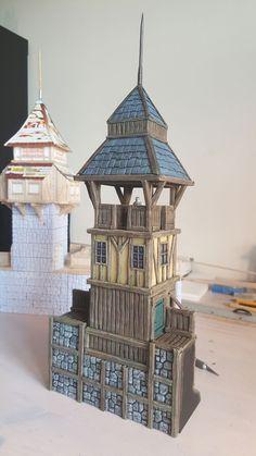 Medieval Tower - 28mm Building - Tabletop - Terrain - Diorama - Wargaming Fantasy Town, Fantasy Castle, Fantasy House, Medieval Tower, Medieval Houses, Medieval Fantasy, Casa Estilo Tudor, Painting Station, Hirst Arts