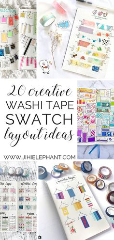 20 Creative Washi Tape Swatch Layouts For Your Bullet Journal Are you a washi tape collector?? Me too! I am always trying to find new and unique ways to keep track of my washi tape collection but I can never quite find a way. Here are 20 different creative washi tape swatch layouts for you to use in your bullet journal!