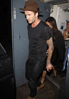http://chicerman.com billy-george: David Beckam looking slick in all black with brown highlights #streetstyleformen