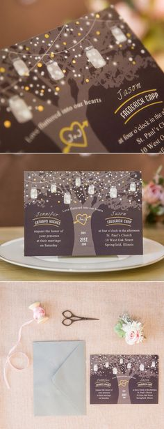 string lights inspired gold and black foil wedding invitations #weddinginvitations