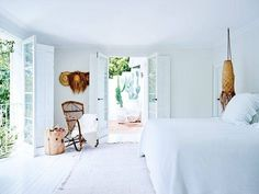 bright white walls + floors